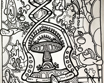 "Mushroom art original AEQEA drawing ink illustration 8.5 x 11"" lightweight card stock."