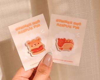 Summer BBQ Bear Acrylic Pins | Hot Dog Weiner, Cheeseburger, Hamburger | Cute Decorative Pin Badges