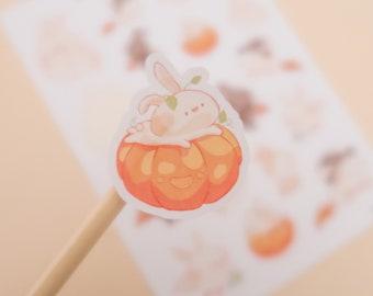 Spooky Season Muffin Sticker Sheet | Halloween Bunny, Pumpkin, Jack-o-Lantern, Bat, Trick or Treat, Ghost, Mummy, Witch| Cute Stationery