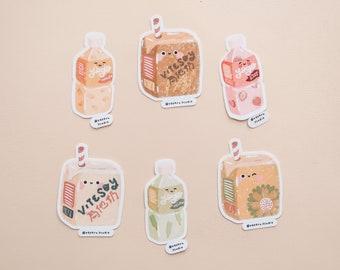Cute Asian Drinks Weatherproof Decal Sticker | Mango, Strawberry, Melon, Vitasoy, Chrysanthemum | Kawaii Stickers | Cute Die Cut Stickers