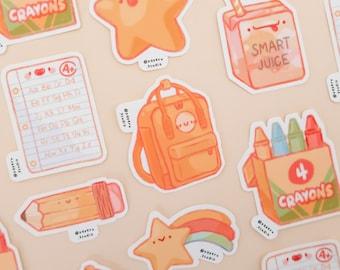 Back To School Weatherproof Decal Sticker | Kanken Backpack, Crayons, Juice Box, Looseleaf, Pencil, Star, Apple | Cute Die Cut Stickers