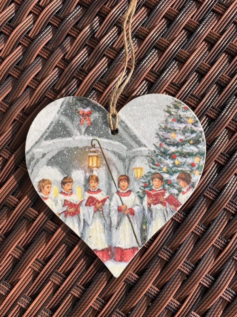 Christmas Carol Singers Ornaments.Christmas Carol Singers Decoration 12cm Decoupaged Wooden Heart Plaque Festive Decor Tree Decortation Christmas Ornament