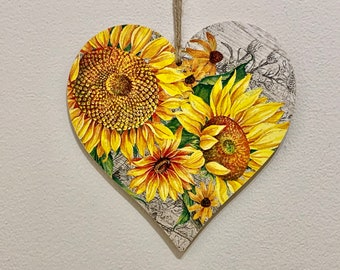 Vibrant Sunflower handcrafted 15cm decoupaged wooden heart plaque