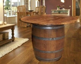 Reversible reclaimed wine barrel Sale Capsuling Wine Barrel Pub Table Reclaimed White Oak Handcrafted Solid Wood Top Can Be Stained To Fit Your Decor By Request Wine Barrel Table Etsy