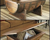 Reclaimed Oak Wine/Whiskey Barrel Coffee Table with Storage & Lift Top, Can Be Custom Stained to Your Decor.