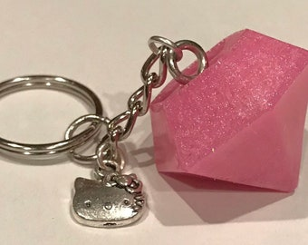 aad1933c2 Pink resin jewel keychain with Hello Kitty charm