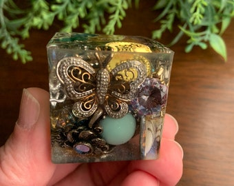 Treasure Cube Paperweight, Moon and Butterfly