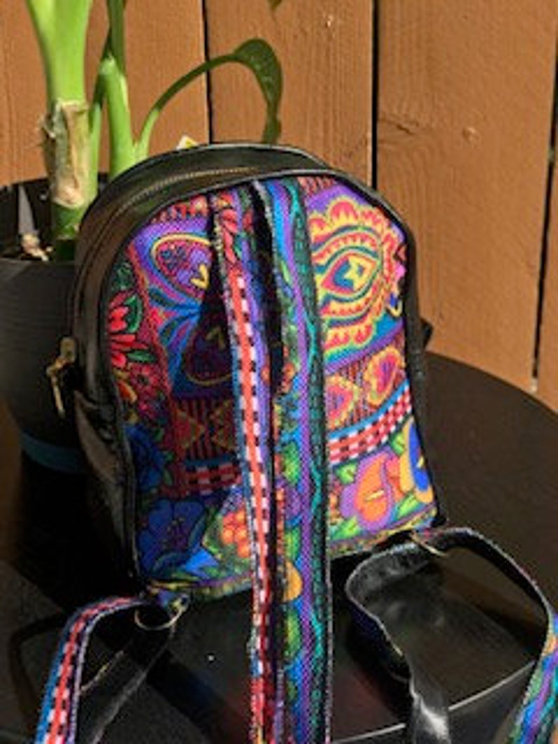 Guatemalan Textile Fabric Micro Mini Backpack with black  bright genuine Leather especial 50.00 regular price 60.00 Botanical Garden