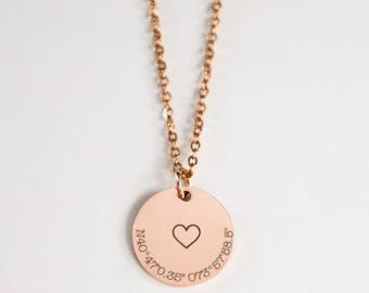 Coordinate necklace, latitude longitude necklace, custom coordinates necklace, personalized location necklace, latitude longitude