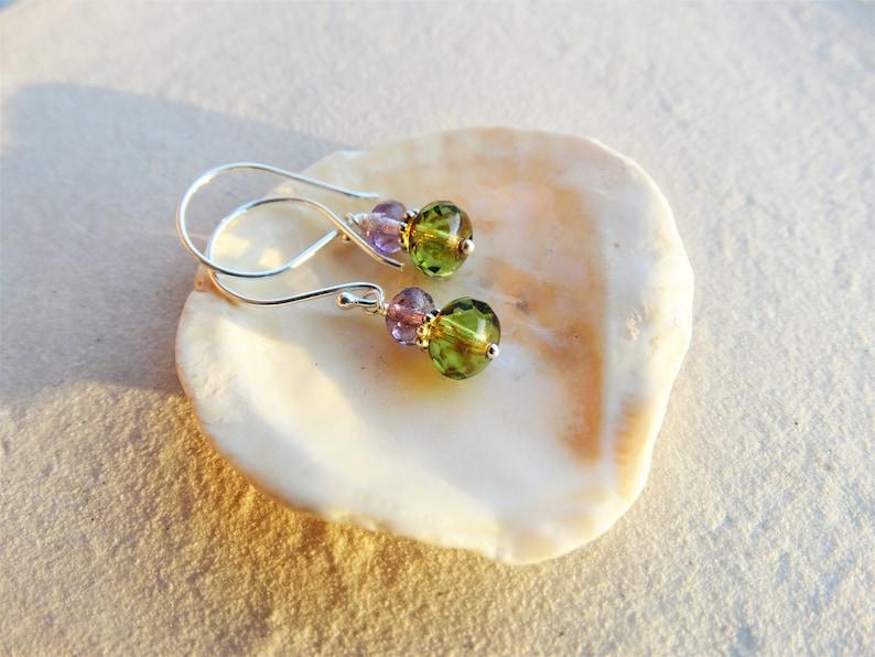 delicate glass drop earrings in sterling silver small green earrings multi-coloured Czech glass drops