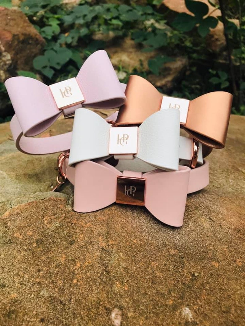 Leather dog bow tie collars in different colurs