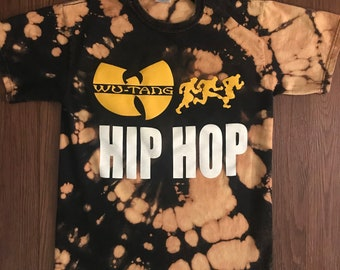 88aa3dae1cf Wu Tang Clan Runs Hip Hip - One of a Kind Tie Dye T-Shirt - Medium - Black  and Yellow - Front and Back Graphics