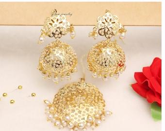 591947282 Jadau Gold Plat White Jhumka Earrings Tikka /India Jhumka Tikka Set/ Punjabi  Gold Indian Jewellery/Muslim Jhumki Set