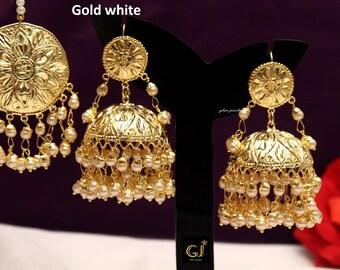 abac714f3 Gold White,Green, Maroon Jadau Jhumka Earrings Tikka /Indian Big Jhumka Tikka  Set/ Punjabi Indian Jewellery/Muslim Jhumki Set