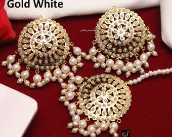 5e36fa76a Jadau Gold Plat Stud Earrings Tikka Set/Indian Hyderabadi Bollywood Studs  Tikka/ Punjabi Indian Jewellery Tops Earrings/Muslim Earrings