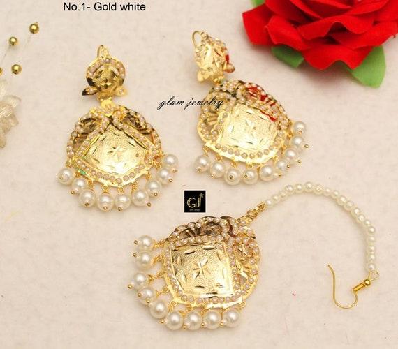 Jadau Gold White Chand Bali Earrings TikkaIndian Big Earrings Tikka Set Punjabi Indian JewelleryPakistani Set