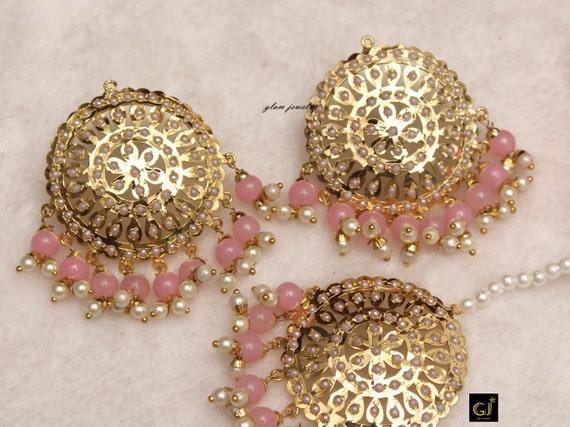 semi precious stonebead jewelry-matt gold earring-Indian headpiece-Bridal jewelry-Indian maang tikka set-Bollywood jewelry-Hyderabadi set