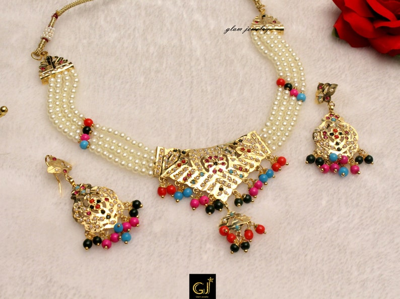 e8eaadc5a5c7 Jadau Pearl Choker Navrattan Necklace Set Indian Bollywood