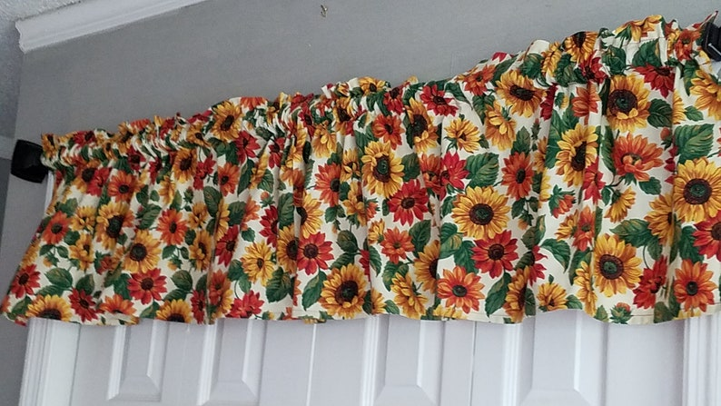 Kitchen Curtains Sunflower Curtains Green and Orange Curtains Sun Room Curtains Yellow Cheerful Curtains Floral Curtains