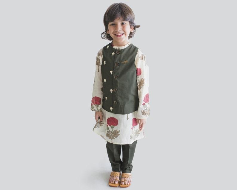 Festive Wear IndianPakistani Outfit Green Designer Nehru Jacket Little Boys Floral Printed Kurta Pajama Ethnic Suit