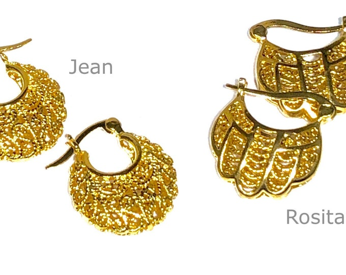 Filigree Earrings, Small Ornate Hoops, Mommy and Me Earrings, Gold-Tone Earrings, Gift For Her