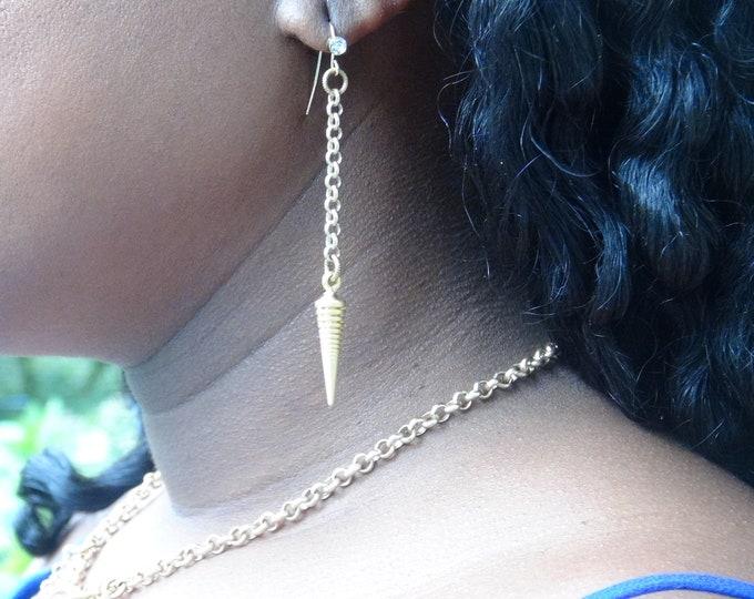 Women's Brass Earrings, Brass Pendulum Earrings
