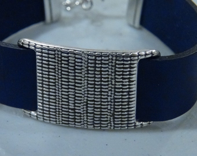 Women's Leather Bracelet, Silver Buckle Bracelet
