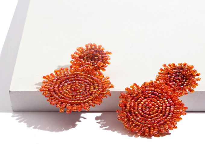 Haute Couture Beaded Drop Earrings