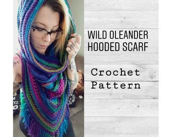 Crochet Pattern ~ Wild Oleander Hooded Scarf PATTERN ~ Hooded Scarf, Hooded Cowl, Crochet Hooded Scarf, Triangle Scarf ~ Boho Fringe Scarf