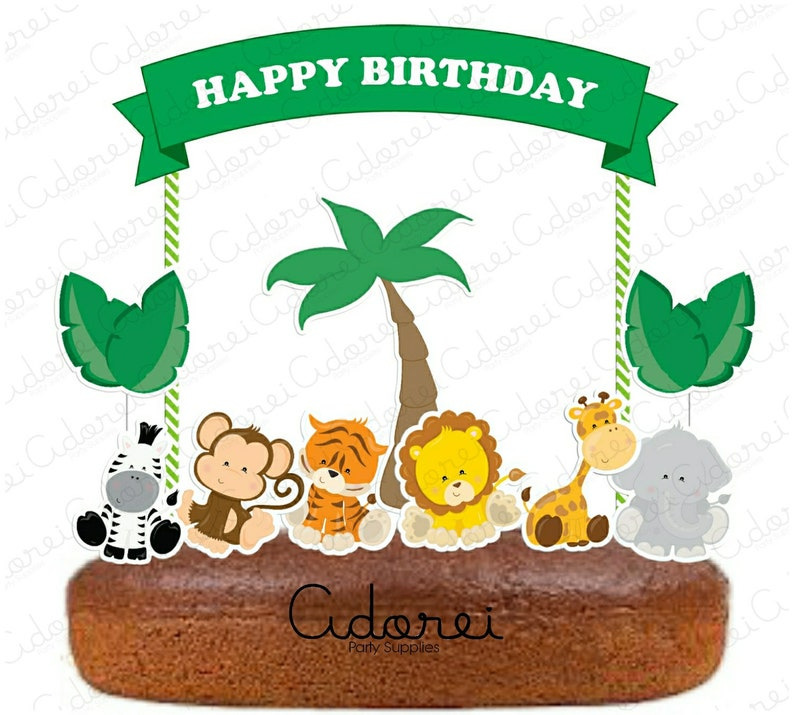 Jungle Animals Cake Topper Birthday