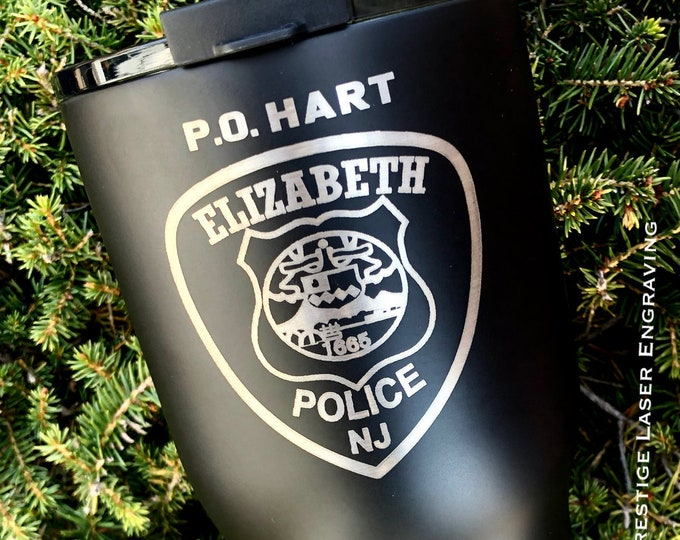 30 Ounce RTIC Tumbler with Custom Police Patch with Free Personalization