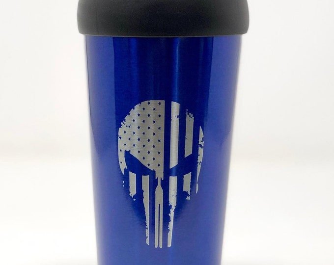 16 Ounce Stainless Steel PunisherTravel Mug
