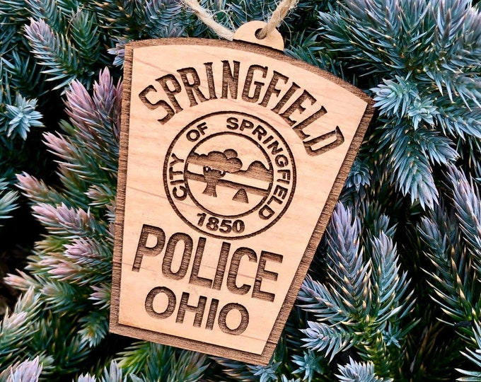Custom Wood Engraved Police Patch Ornament or Magnet
