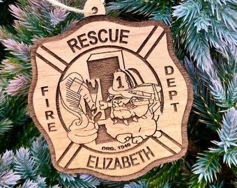 Fireman Badge Wood Ornament