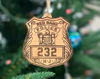 Red Bank, NJ Police Badge Wood Ornament
