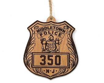 Middletown Police Badge Wood Ornament