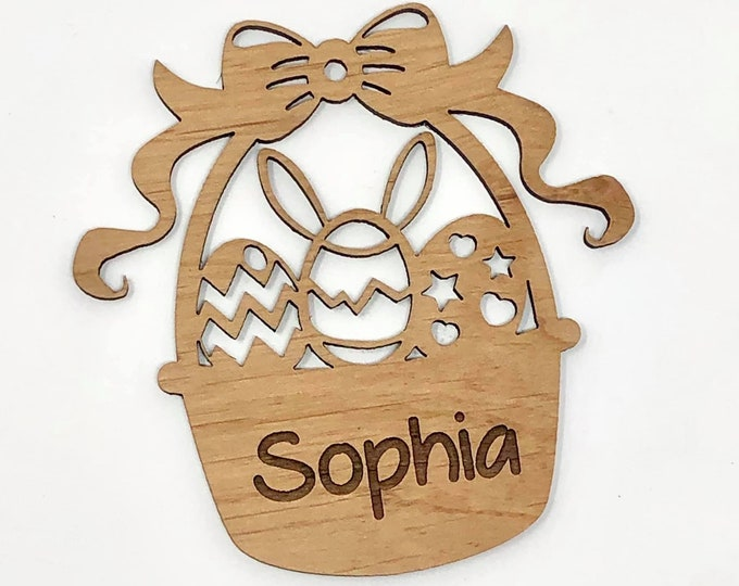 Laser Engraved Wood Easter Basket Charm/Ornament