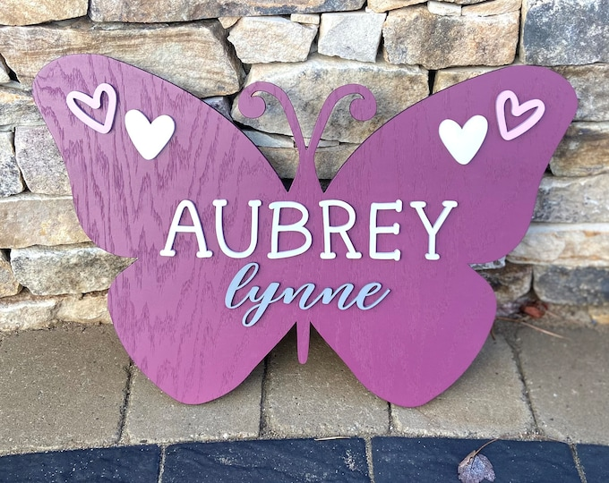 Butterfly Baby Name Sign