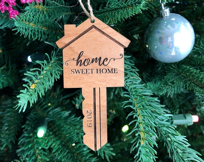 Home Sweet Home Laser Engraved Wood Key Ornament