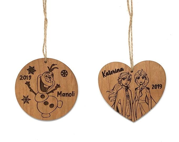 Laser Engraved Wood Olaf and Elsa Ornaments