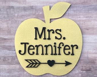 Glitter Teacher Apple Name Sign