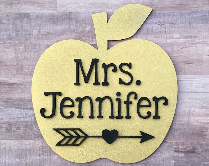 Glitter Teacher Apple Name Sign