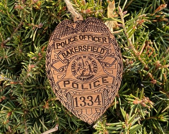 Custom Bakersfield Police Patch Ornament