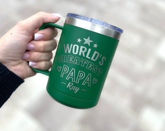 World's Greatest Papa 15 Ounce Polar Camel Powder Coated Coffee Tumbler