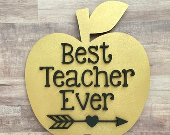 Best Teacher Ever Apple Name Sign