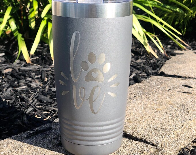 Dog Love 20 Ounce Polar Camel Powder Coated Tumbler