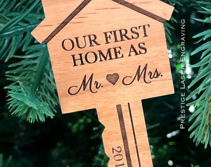 Laser Engraved Wood Our Fist Home Key Ornament