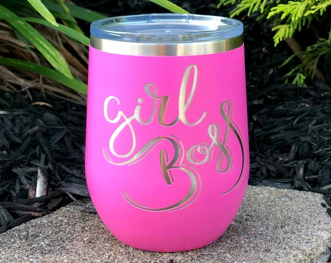 Girl boss 12 Ounce Polar Camel Powder Coated Wine Tumbler