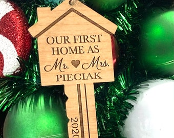 Laser Engraved Wood Our First Home Key Ornament