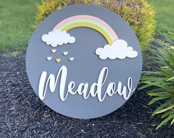 Rainbow baby name sign
